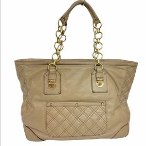 Marc Jacobs Tan Leather Tote Shoulder Bag Quilted